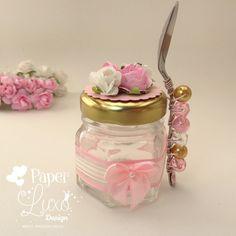 Potinho de vidro 40 mL Princesa    * Acompanha colherzinha decorada!