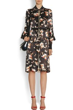 Givenchy | Dress in magnolia and butterfly-print silk-crepe  | NET-A-PORTER.COM