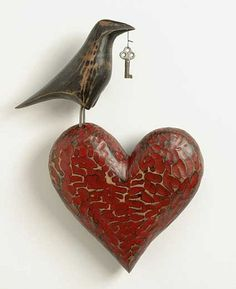 crow with key and heart