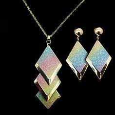 [CyberMondaySale]Aleación de oro (Pendientes y collares) Set de Joyas de piedras preciosas de Europa