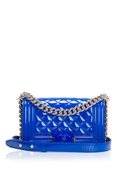 Chanel Blue Marine Quilted Patent Small Boy Bag - Preorder now on Moda Operandi