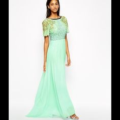 Beaded Aqua dress from Virgos Lounge Virgos Lounge beaded Aqua evening gown. Never been worn. US 8 UK size 12.  Love this dress I'm just six feet tall and it wasn't long enough for me! Polyester and lined. Virgos Lounge Dresses Maxi