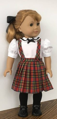 American Girl doll plaid pleated skirt and white blouse, $25