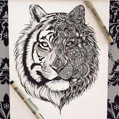 Image via We Heart It https://weheartit.com/entry/158452876/via/16925882 #art #black #drawing #masterpiece #pen #tiger #wow
