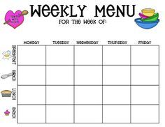 Week one menu recipes pinterest menu for Daycare food menu template