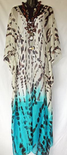 I love this one...Animal print Hombre 100 silk Full Length Kaftan by MollyKaftans, $149.00