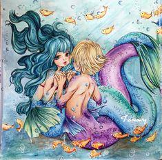 """Sea Love"" Pop Manga Mermaids by Camilla d'Errico ( left page) Manga Coloring Book, Mermaid Coloring Book, Adult Coloring, Coloring Books, Coloring Pages, Colouring, Manga Mermaid, Manga Mania, Prismacolor"