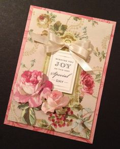 Shabby and Elegant Coral Card with Anna Griffin Roses and Papers
