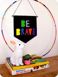 Be Brave Wool Felt Banner Typography Wall Hanging by HungUpOnAgnes