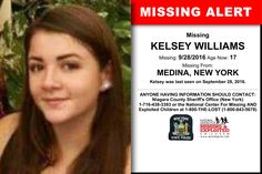 KELSEY WILLIAMS, Age Now: 17, Missing: 09/28/2016. Missing From MEDINA, NY. ANYONE HAVING INFORMATION SHOULD CONTACT: Niagara County Sheriff's Office (New York) 1-716-438-3393.