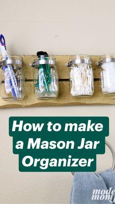 Mason Jar Crafts, Mason Jar Diy, Diy Mason Jar Lights, Mason Jar Projects, Mason Jar Bathroom, Small Bathroom, Diy Bathroom Decor, Bathroom Ideas, Bathroom Hacks