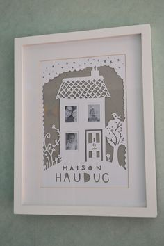 Paper cut family house photo frame from Ms Matched. https://www.facebook.com/media/set/?set=a.534925263261256.1073741832.121862514567535&type=1