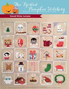 Kawaii Winter Sampler PDF Cross Stitch Pattern by Frosted Pumpkin Stitchery