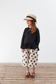 Amber Chuette top + Beneben raffia cap + Dotted culottes. Beautiful fashion for girls from Korean brands. www.lublue.co.uk