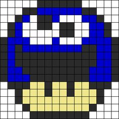 Cookie Monster Mushroom (small) perler bead pattern