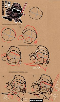 How to Draw Cute Chibi Cartoon Kylo Ren from Star Wars The Force Awakens - Step by Step Drawing Tutorial