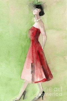 Vintage Red Cocktail Dress Fashion Illustration Art Print Painting