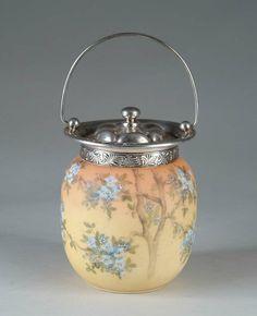 "Mt Washington Crown Milano/ Albertine Cookie Jar - 10 inch HOA to top of handle. With original paper label ""Albertine"""