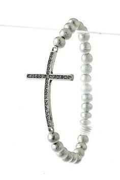 Image of + Side Cross Bead Bracelet in Silver