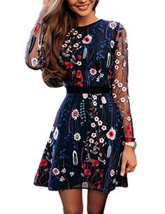 4953a3226f6 DarlingU Womens Long Sleeves Short Homecoming Dress Floral Embroidery Prom  Party GownFL13