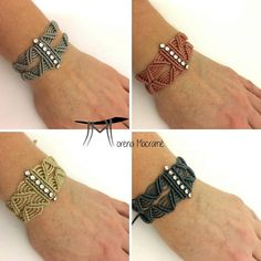 Loc Jewelry, Macrame Jewelry, Macrame Bracelets, Jewelry Crafts, Macrame Knots, Loom Bracelets, Rosa Beige, Macrame Bracelet Patterns, Chevron Friendship Bracelets