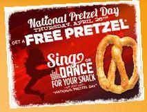 Free Soft Pretzel @ Pretzelmaker on 4-26-12  http://www.thefreebiesource.com/?p=80631
