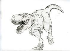 Dinosaur Sketch, Dinosaur Drawing, Dinosaur Art, The Good Dinosaur, Chalk Drawings, Art Drawings, Pencil Drawings, Tyrannosaurus, Animal Sketches