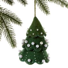Green Felt Tree Ornament with White Beads - Silk Road Bazaar (O)