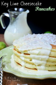 Key Lime Cheesecake Pancakes | from willcookforsmiles.com | #braekfast #pancakes #keylime