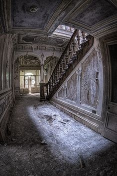 Inside of an abandoned Manor House. How can anyone walk away and just leave a house like this to deteriorate? So sad.