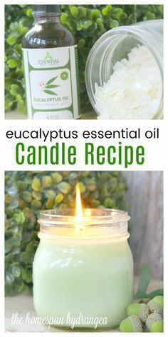 This eucalyptus oil candle recipe is the perfect essential oil candle recipe. #EssentialOils #CandleRecipes #CandleMaking