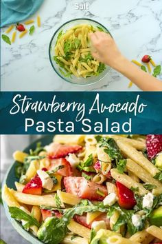 Strawberry Avocado Pasta Salad is an easy summer pasta salad recipe that everyone will love! Serve it warm or cold, either way, it's sure to be a hit! Yummy Pasta Recipes, Salad Recipes Video, Healthy Salad Recipes, Vegetarian Recipes, Cooking Recipes, Fruit Recipes, Easy Recipes, Healthy Food, Recipies