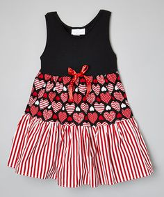 Another great find on #zulily! Red & Black Sweethearts Stripe Tiered Dress - Toddler & Girls #zulilyfinds