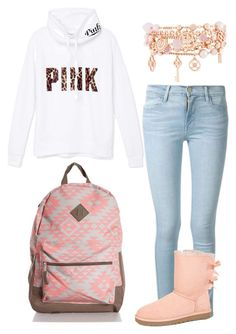 """pinkalicious"" by kiarahcarson ❤ liked on Polyvore featuring Victoria's Secret PINK, Frame Denim, UGG Australia and Henri Bendel"