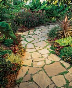 How To Lay Flagstones On Dirt Flagstone Herbs And Stepping Stone Walkways