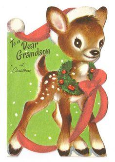 To a Dear Grandson at Christmas Vintage Christmas Card