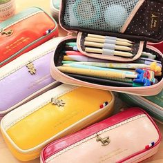 """Rainbow Comes"" Faux Leather Pencil Case Cute Pencil Bag Box Wallet Purse Gift"