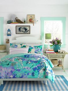 Teen Vogue Bedding: Watercolor Garden Bedding Set. Absolutely love the color combination in this one.