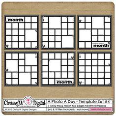 A Photo A Day - Project 365 PL 12x12 - Set 4 Digital Scrapbooking Templates