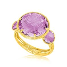 14K YELLOW GOLD MESH WIRE RING WITH ROUND AMETHYST STONES 20% off all items over $100 with coupon code PIN20!