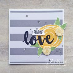 Grey and yellow, scribble flowers, grunge , die cut sentiment, stripes