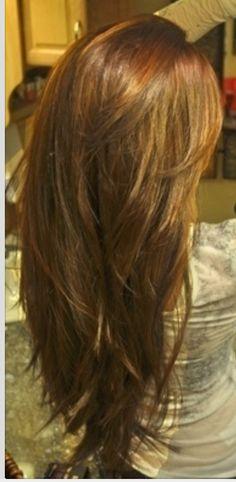 Long layered hair...