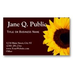 pretty sunflower business card templates pretty business cards