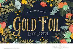 Custom Text Logo Design Gold Foil Logo Gold by MadameLevasseur