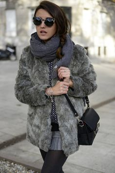 Fur coat and infinty scarf
