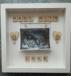 Made With Love scrabble deep box frame for scan pictures. These are made to order and can take around 3 days to complete before dispatching Thanks Scrabble Letter Crafts, Scrabble Frame, Scrabble Art, Box Frame Art, Deep Box Frames, Box Picture Frames, Personalised Frames, Handmade Frames, Scrabble Kunst