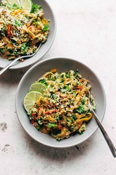 Thai Noodle Salad with Peanut Lime Dressing - veggies, chicken, brown rice noodles, and an easy homemade dressing. | Pinned to Nutrition Stripped | Salads #thai #Nutritionstripped