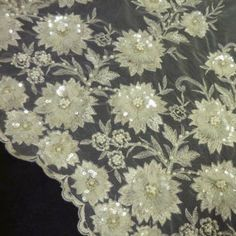 "Beaded, Embroidered, Sequined Lace - Ivory / Gold - 54"" - Haberman Fabrics"