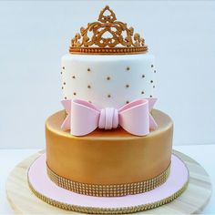 Awesome Tiara Baby Shower Cake Pink And Gold