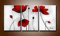 Ode-Rin Hand Painted Abstract Oil Paintings Fiery-red Blooming Flowers 3 Panels Wood Framed Inside For Living Room Art Work Home Decoration